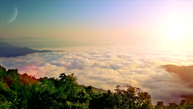 Morning clouds in mountains video