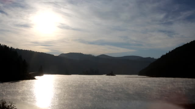 Morning Mist on a Mountain Lake at Sunrise video