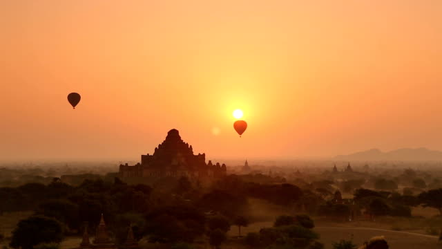Morning Panorama of Hot Air Balloons in Bagan Myanmar video