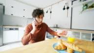 Morning phone conversation. video