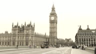 A morning view on Westminster Bridge, Big Ben is a symbol. England video