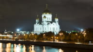 Moscow Cathedral of Christ the Saviour timelapse at night video