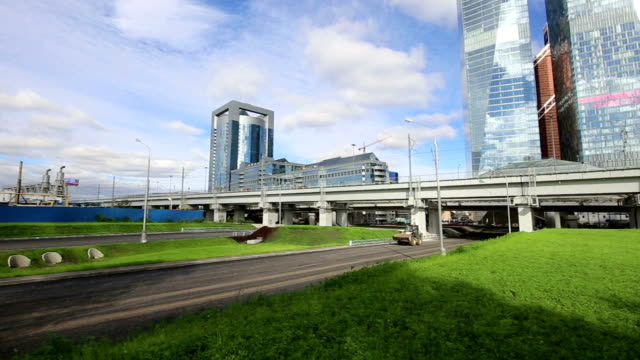 Moscow Central Circle - Little Ring, MCC,or MK MZD, and skyscrapers of the International Business Center (City), Russia. Delovoy Tsentr  railway station video