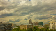 Moscow cityscape, cloudy sky, time lapse video