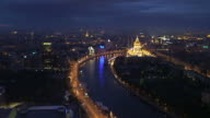 Moscow General view with river in twilight, panorama video