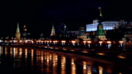 Moscow Kremlim and embankment at night video