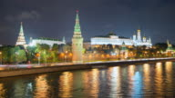 Moscow Kremlin and Moskva River timelapse at night video