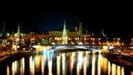 Moscow Kremlin at Night. Time Lapse. Loop video