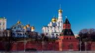Moscow Kremlin Cathedral winter landscape embankment timelapse hyperlapse video