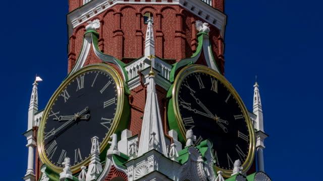 Moscow Kremlin, Red Square. Spasskaya clock tower timelapse hyperlapse video