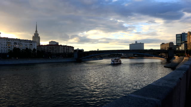Moscow river at sunset video