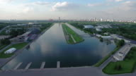 Moscow rowing channel, aerial view video