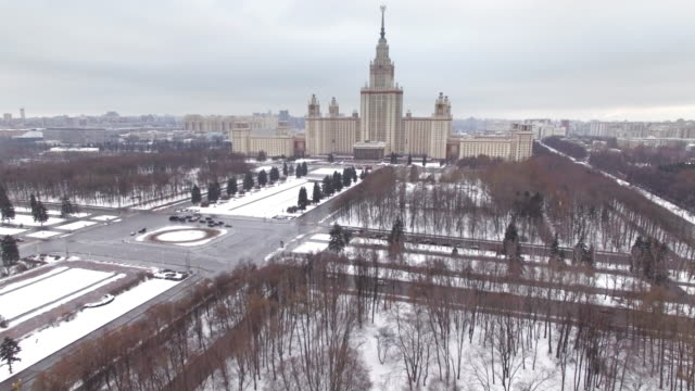 Moscow State University, aerial view video