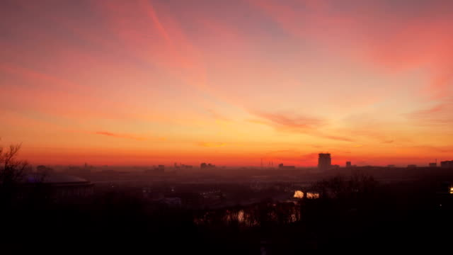 Moscow sunrise timelapse video