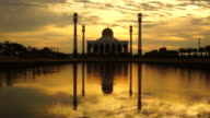 Mosque at sunset and rain. video