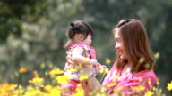 Mother and baby girl  in yellow flower field video