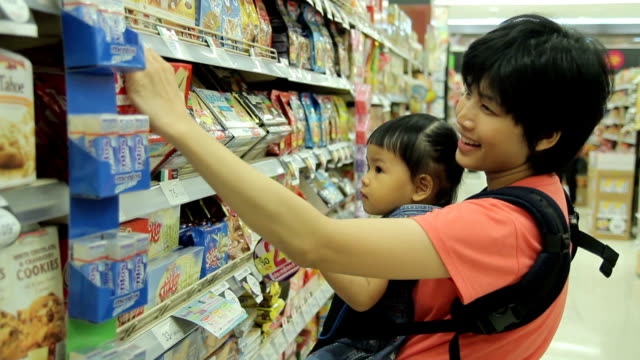 HD : Mother and Baby Shopping in supermarket video