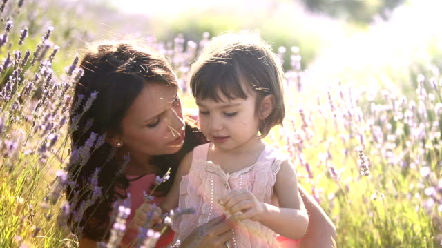 Mother and child in lavender field at sunset video