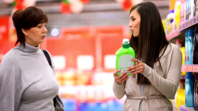 Mother and daughter in supermarket video