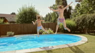 SLO MO CS Mother and daughter jumping into pool video
