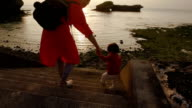 Mother and daughter playing. video