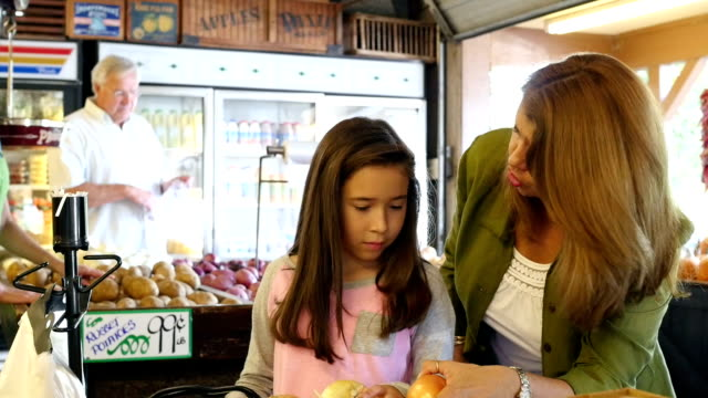 Mother and daughter shopping in outdoor farmer's market video