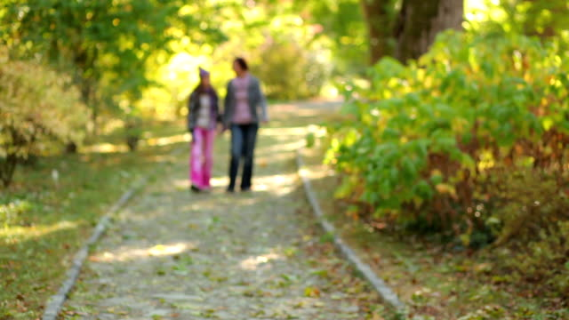 mother and daughter walking in the autumn park video