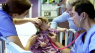 Mother And Daughter With Staff In Pediatric Ward Of Hospital video