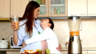 Mother and son in the kitchen video