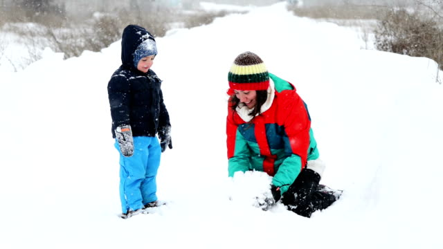 Mother and Son in Wintertime video