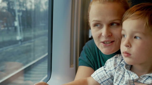 Mother and son looking out train window video