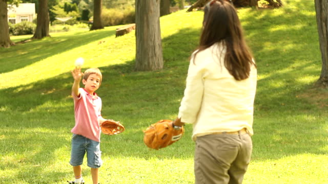 Mother and Son throw Baseball video