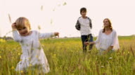 SLO MO Mother and two kids on a meadow video