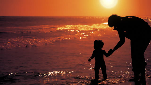 Mother, child, sea and the sunset video