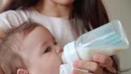 Mother Feeding Baby Boy From Bottle At Home video