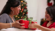 Mother giving daughter Christmas gift video