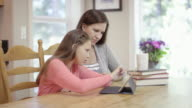 Mother helping her young daughter with homework video