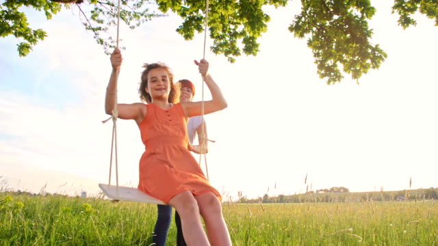 SLO MO Mother pushing her daughter on tree swing video