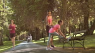DS Mother teaching daughter stretching exercises in the park video
