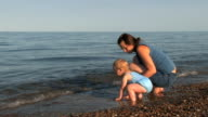 Mother, Toddler at Beach video