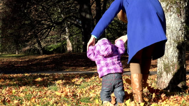 mother walk with little girl walk autumn leaves in park. FullHD video