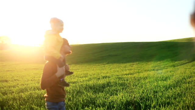Mother watching husband and son on shoulders enjoying birds flying around sunny evening in summer or spring green grass meadow field - young healthy family weekend spending time outdoors concept video