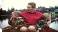Mother with children in rowboat (vintage 8 mm amateur film) video