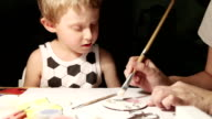 Mother with little son paint handmade Beverage coasters video