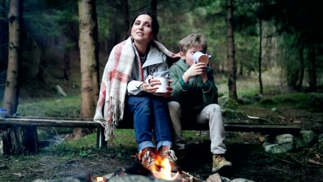 Mother with son singing and tea drinking near near forest campfire video