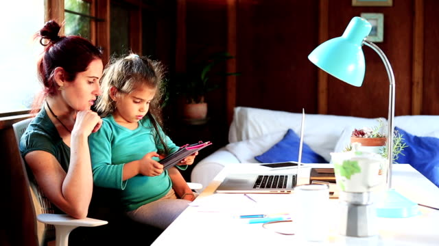 Mother Working From Home takes break with little girl video