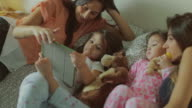 Mothers and daughters resting time at home video