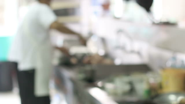 motion blur working chefs of a restaurant kitchen video