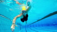 HD motion effect: Underwater Shot of Young Women Swimming Front Crawl video