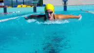 HD Motion effect: Young Women Swimming Butterfly Stroke Outdoors video